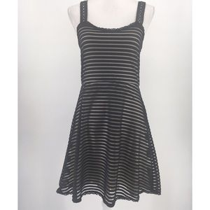 Free People Dress Sleeveless Tank Stripe Black